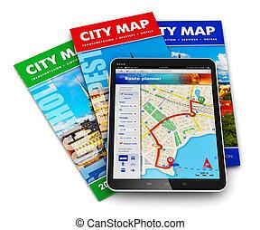 voyage, concept, tourisme, navigation, gps