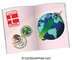 voyage, conception, passeport, illustration