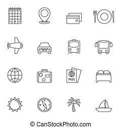 voyage, contour, icônes