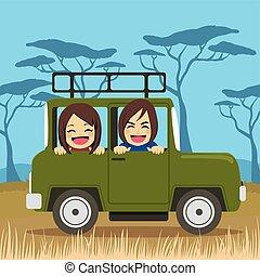 voyage, couple, safari