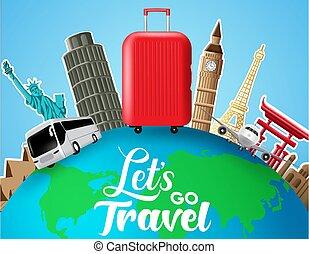voyage, coupure, lets, voyager, repère, éléments, vecteur, design., papier, adventure., tour, texte, transport, concept, globe, mondiale, destination, aller, voyage