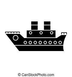 voyage, croisière, bateau, mer, pictogramme