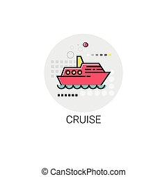 voyage, croisière, vacances, mer, icône