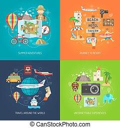 voyage, décoratif, ensemble, icône, plat