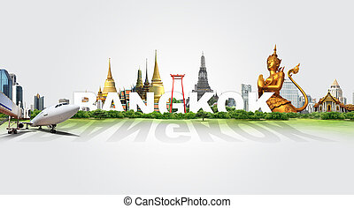 voyage, dans, bangkok, concept