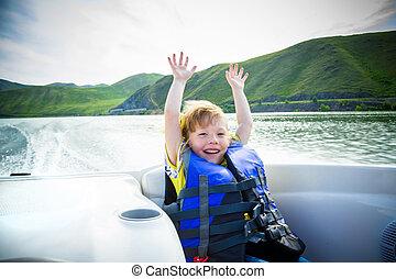 voyage, de, enfants, sur, eau, dans, les, bateau