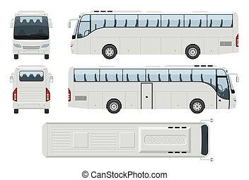 voyage, devant, réaliste, vecteur, côté, vue, autobus, dos, illustration, sommet