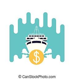 voyage, dollar, bateau croisière, symbole, bateau