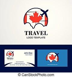 Voyage Drapeau Canada Logo Et Carte Visite Conception