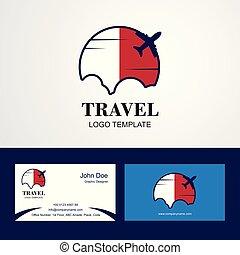 Voyage Drapeau Malte Logo Et Carte Visite Conception