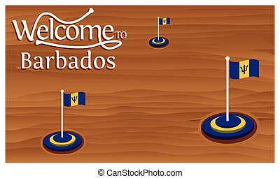 voyage, drapeau, vecteur, barbade, temps, isolé, affiche, accueil, illustration