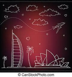 voyage, egypt., arrière-plan., dessiné, main, tourisme