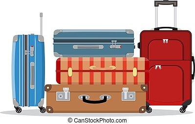voyage, empilé, valises