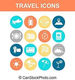 voyage, ensemble, icône