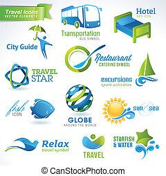 voyage, ensemble, icônes