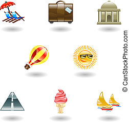 voyage, ensemble, tourisme, icône