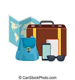 voyage, ensemble, tourisme, icônes