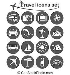 voyage, ensemble, transport, icônes