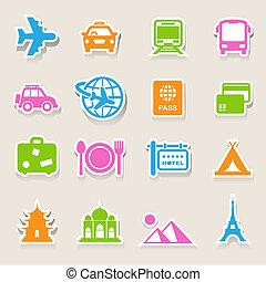 voyage, ensemble, vacances, icônes