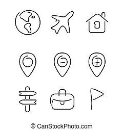 voyage, ensemble, voyage, icônes