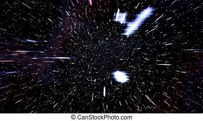 voyage espace, nébuleuse, chaîne, par, hyperspace, vitesse, ...