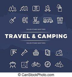 voyage, et, camping, ligne, icônes, ensemble
