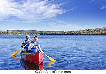 voyage, famille, canoë
