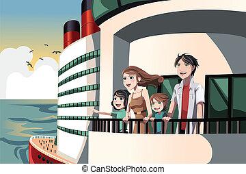voyage, famille, croisière