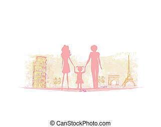 voyage, famille, fond