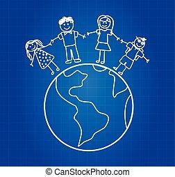voyage, famille, heureux