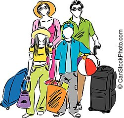 voyage famille, illustration, vacances