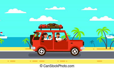 voyage, famille, rouges, bagage, voiture