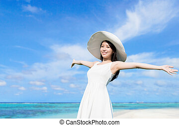 voyage, femme, plage, jeune
