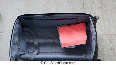 voyage, femme, sommet, emballage, valise, vue