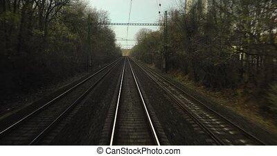 voyage, ferroviaire, vue postérieure
