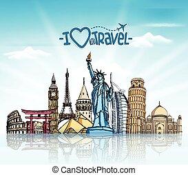 voyage, fond, tourisme