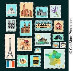 voyage, france, stamps.