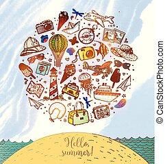 voyage, gabarit, dessin animé, doodles, couleur dessin