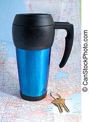 voyage, grande tasse café