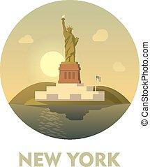 voyage, icône, destination, york, nouveau