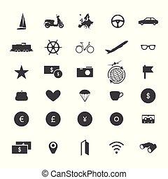 voyage, icône, ensemble