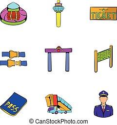 Voyage icons set, cartoon style