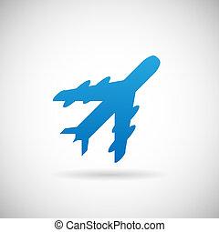 voyage, illustration, air, vecteur, conception, gabarit, avion, symbole, icône