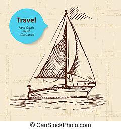 voyage, illustration, fond, boat., vendange, main, dessiné