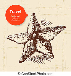 voyage, illustration, fond, starfish., vendange, main, dessiné