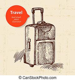 voyage, illustration, fond, suitcase., vendange, main, dessiné