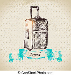 voyage, illustration, fond, suitcase., vendange, main, dessiné