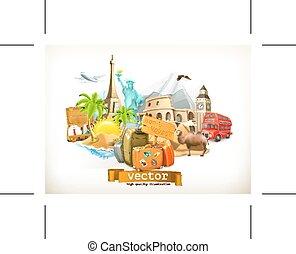 voyage, illustration, icônes