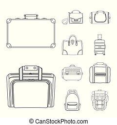 voyage, illustration., vecteur, collection, signe., valise, bagages, illustration, stockage