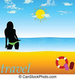 voyage, illustration, vecteur, paradis, girl, plage